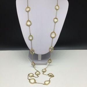 Talbots Necklace Gold Tone Pale Yellow Rhinestone